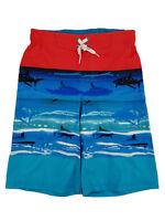 Boys Orange & Blue Shark Print Surf Shorts Swim Trunks Board Shorts