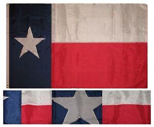 6x10 ft Embroidered Sewn State of Texas Weathertek Nylon Flag Banner Brass Clips