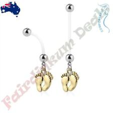 Bio Flex Pregnancy Navel Ring with Gold Ion Plated Baby Feet Dangle