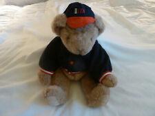 "1995 Vintage Vermont Teddy 17"" Jointed Baseball Boy Bear Wool Jacket & Cap/Hat"