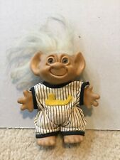 Vintage Uneeda Wishnik Troll Doll Baseball Uniform White Hair 5 1/2�