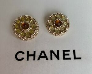 Set of 2 CHANEL with white/brown Gripoix Buttons