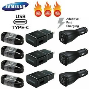 For Samsung Galaxy S8 S9 S10 Note8 Plus Fast Car Wall Charger Type-C USB-C Cable