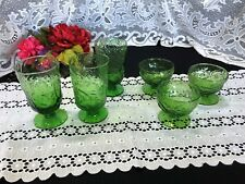 "6 Green Glass La Casa Casual ""Toscany - Sage"" Glasses; 3 Iced tea and 3 Compotes"