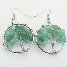 Natural Aventurine Chip Beads Tree of Life Reiki Chakra Silver Hook Earrings