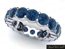 5.60Ct Round Blue Diamond Classic Eternity Wedding Band Ring 14k White Gold Si1