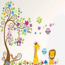 1x Owl Animal Wall Stickers LionJungle Zoo Tree Nursery Baby Kids Room Decal Art