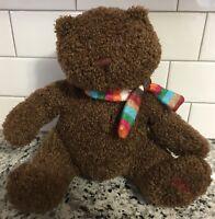 "Baby Gap Brannen Bear Curly Brown Plush Toy Lovey Rainbow Scarf 10"" Sewn Eyes"