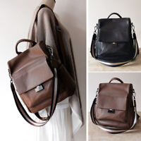 Anti-Theft Convertible Real Leather Backpack Travel Bag Purse Shoulder Bag