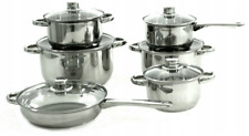 Set of 12 pots and pans made of stainless steel.