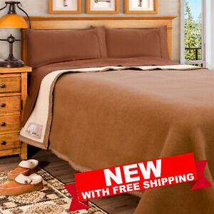 Poyet Motte Aubisque 500GSM Heavyweight 100-Percent Wool Blanket Queen, Camel