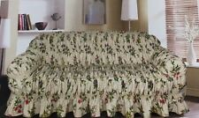 Frilled Floral 100% Cotton Sofa Protector Throw 1/2/3 Seater Sofa Throw Cover