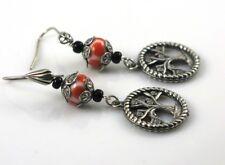 Tree of Life Earrings Antique Silver and Orange Lampwork Beaded  Long Dangle