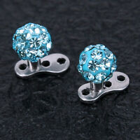 316L Steel Internally Threaded Prong Setting Crystal Micro Dermal Anchor Top