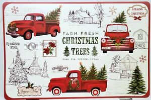 """Set of 2 Same Plastic Placemats (12""""x18"""") CHRISTMAS TREES & RED TRUCKS, NB"""