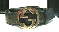 GUCCI BELT AUTHENTIC BLACK SILVER BUCKLE 49 INCHES TIP TO TIP AT GREATEST POINTS
