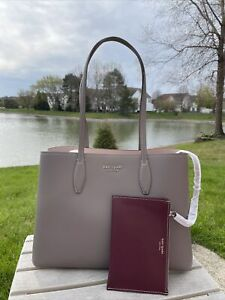 New Kate Spade All Day Large Shoulder Tote Bag Leather Mineral Grey Gift Work