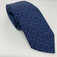 BRAND NEW HERMES BLUE PATTERNED MENS SILK TIE MADE IN ITALY