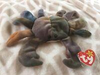 crab named Claude Ty beanie baby 1996 RARE tag & rare pvc pellets