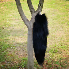 Black Real Fox Tail Fur  Key Chain Ring Handbag Accessories Tassels Cospaly Toy
