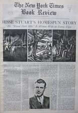 JESSE STUART - BEYOND DARK HILLS - ISHMAEL 1938 April 24 NY Times Book Review