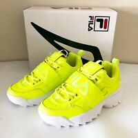FILA Disruptor 2 Applique Sneakers Platform Logo Strap Safety Yellow Size 7