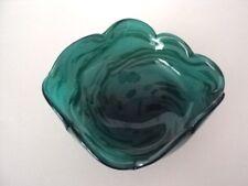 "Vintage Green  MURANO Italian Handmade Art Glass Ashtray Candy Dish 5 5/8"""