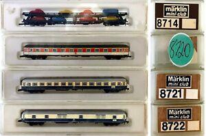 MARKLIN Z SCALE  8714-8720-8721-8722 - 4 Assted Passenger Cars  C7 Marklin Boxes