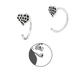 Heart Earrings 925 Silver Hoop Earring Ladies Girls Spotty Open Dangle Loops