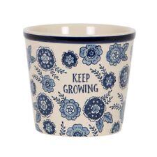 Blue & White Ceramic Plant Pot Flower Pot Floral Planter Vintage Country Home