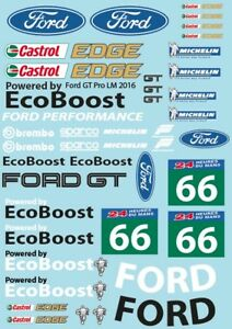 Sticker Decal Sheet for 1/10 Ford GT on clear vinyl p1349
