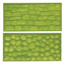 FMM Fondant Impression Mat Set 2 Cobble Stone Wall Icing Emboss Cake Sugarcraft