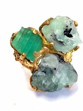 Wow! 25CTS Rough Natural Colombian Emerald 18K Yellow Gold Sterling Silver Ring