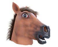 Horse Head Panto Animal Face Mask Overhead Latex Prop Fancy Dress