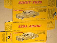 REPLIQUE BOITE OPEL REKORD 1959/62 DINKY TOYS 1960