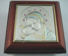 Madonna & Child Genuine Mahogany Rosary Box B200