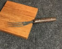 "Antique Primitive Fork with Wood Handle 5-1/2"" . Hardwood Handle ."