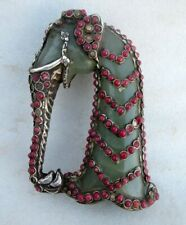 Antique Old Rare Green Stone And Silver Work Elephant Figure Sword Hilt Handle