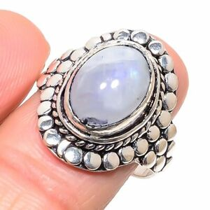 Rainbow Moonstone Gemstone Handmade 925 Sterling Silver Jewelry Ring Size 9 g997