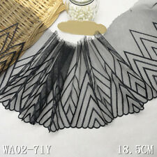 """1 Yard Black Embroidered Lace Trim Tulle Scalloped For DIY Craft Wide 7 1/4"""""""
