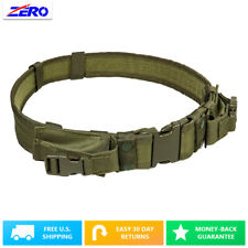 """Tactical Belt Two Pouches 2.25"""" Green 32"""" to 49"""" Pistol Mag Duty Police SWAT"""