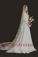 New Cathedral Long Ivory Lace Juliet Cap Vintage Bridal Wedding Veils for Brides