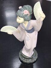 Lladro 4991 Madame Butterfly Japanese Geisha w/ Fan Porcelain Figurine