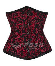 Acero emballeanado cintura formación Cordones Brocade Gothic CORSET Underbust Club Wear M72