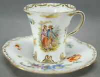 Dresden Hand Painted Watteau Courting Couple Floral & Gold Cup & Saucer Antique