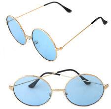 Women's Round Shape Designer Gold Metal Frame Sunglasses Retro Blue Lenses