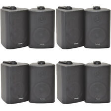 "8x 60W 2 Way Black Wall Mounted Stereo Speakers - 3"" 8Ohm- Mini Background Music"