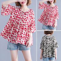 UK 8-24 Women Floral Polka Dot 3/4 Sleeve Swing Loose Tops Tee Shirt Blouse Plus