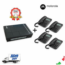 Centralino Telefonico Analogico 3 linee 8 interni MS308+ + 4 Telefoni Motorola