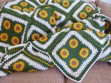NEW hand CROCHET AFGHAN  Blanket GREEN YELLOW SUNFLOWERS